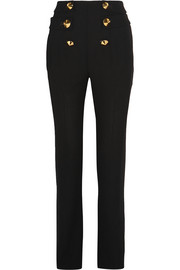 Embellished wool-crepe straight-leg pants