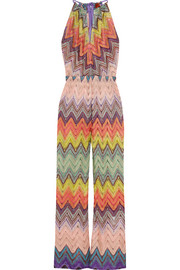 Crochet-knit wide-leg jumpsuit