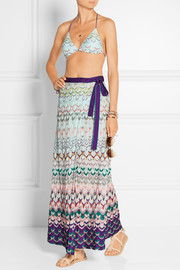 Wrap-effect crochet-knit maxi skirt