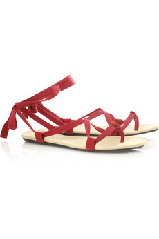 Lanvin Ribbon-tie leather sandals