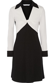 Two-tone wool-jersey dress