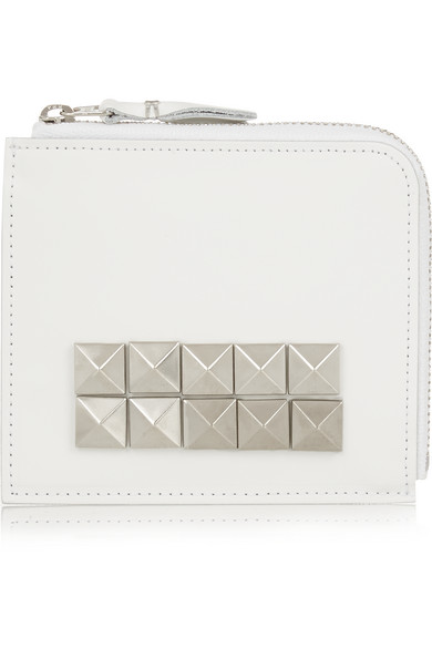 comme des garcons female comme des garcons studded leather wallet white