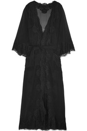 Chantilly lace and silk-blend georgette robe