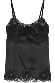Stretch silk-blend satin and lace camisole