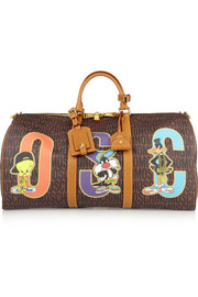 Moschino Printed faux textured-leather weekend bag