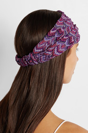 Metallic crochet-knit headband