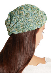 Metallic crochet-knit turban