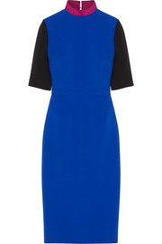 Color-block crepe midi dress