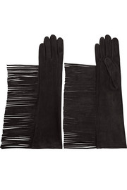 Fringed suede gloves