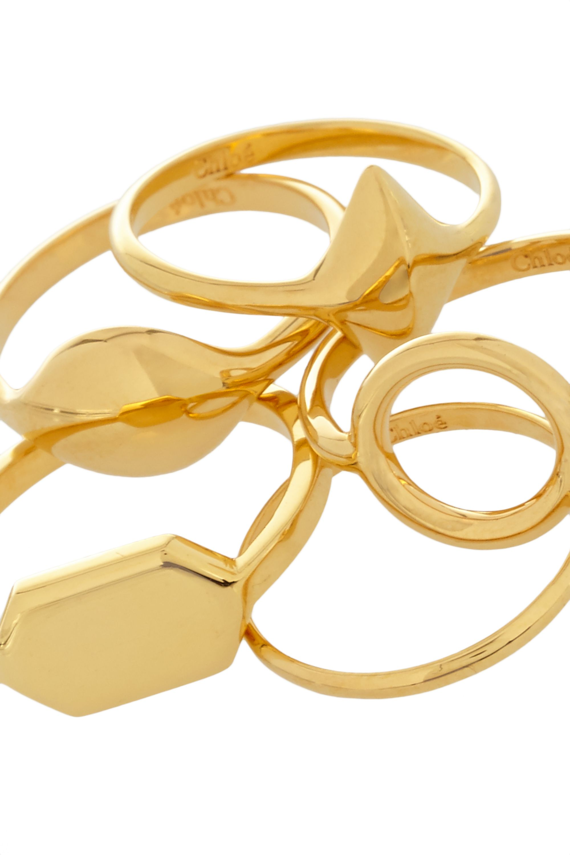 Chloé Harlow set of five gold-tone rings