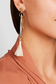 Chloé Harlow gold and sliver-tone feather earrings
