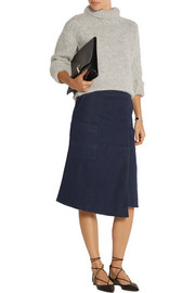 Wrap-effect stretch-denim skirt