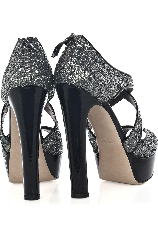 Miu Miu Glitter-embellished platform sandals