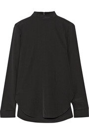 Silk crepe de chine turtleneck top