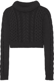 Tibi Cropped cable-knit sweater