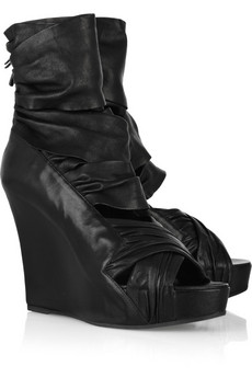 Givenchy Ruched leather wedge sandals