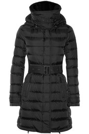 Shearling-trimmed quilted shell down jacket