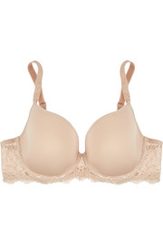 Caresse lace-trimmed stretch-jersey plunge bra