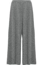 Pleated wool wide-leg culottes