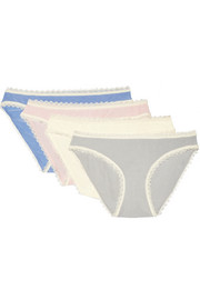 Set of four lace-trimmed stretch-modal jersey briefs