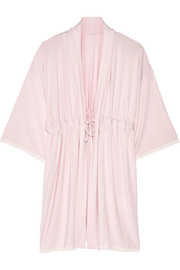 Cheek Frills x Carolyn Murphy Lace-trimmed slub modal robe