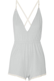 Lace-trimmed stretch-modal playsuit