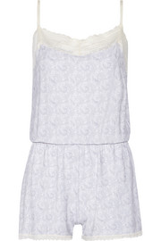 Lace-trimmed floral-print stretch-modal playsuit