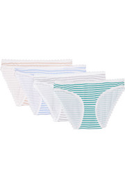 Set of four striped lace-trimmed stretch-cotton modal-jersey briefs