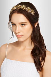 Contessa Swarovski crystal-embellished gold-plated headband