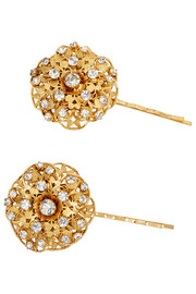Jennifer Behr Contessa gold-plated Swarovski crystal hair slides