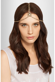 Thea Swarovski crystal-embellished gold-plated headband