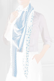 Printed wool and modal-blend scarf