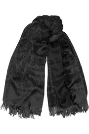 Printed wool and silk-blend scarf