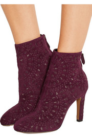 Embroidered suede ankle boots