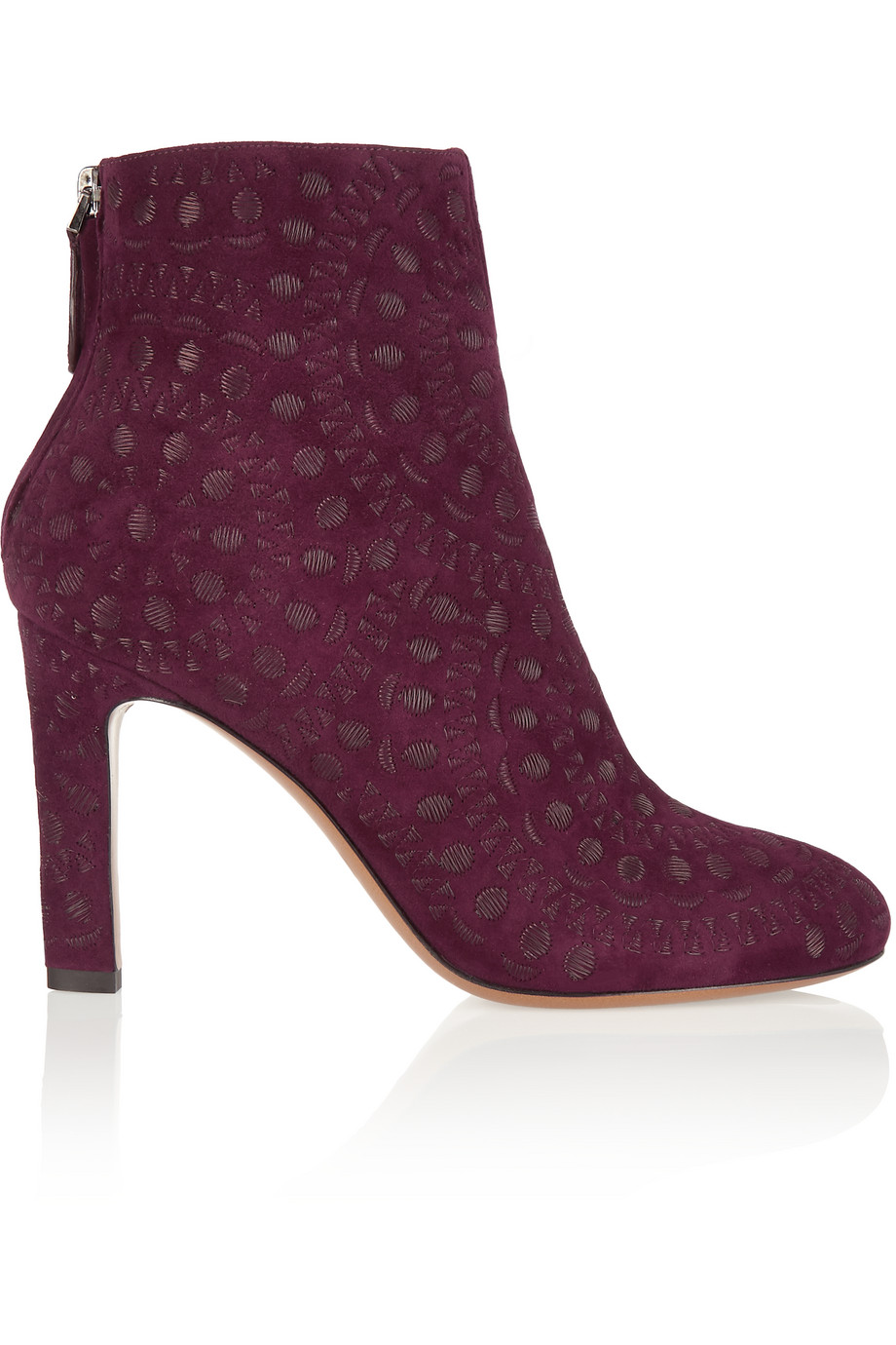 Alaïa Embroidered Suede Ankle Boots, Merlot, Women's US Size: 9, Size: 39.5