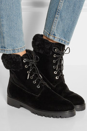 The Heilbrunner shearling-trimmed velvet boots