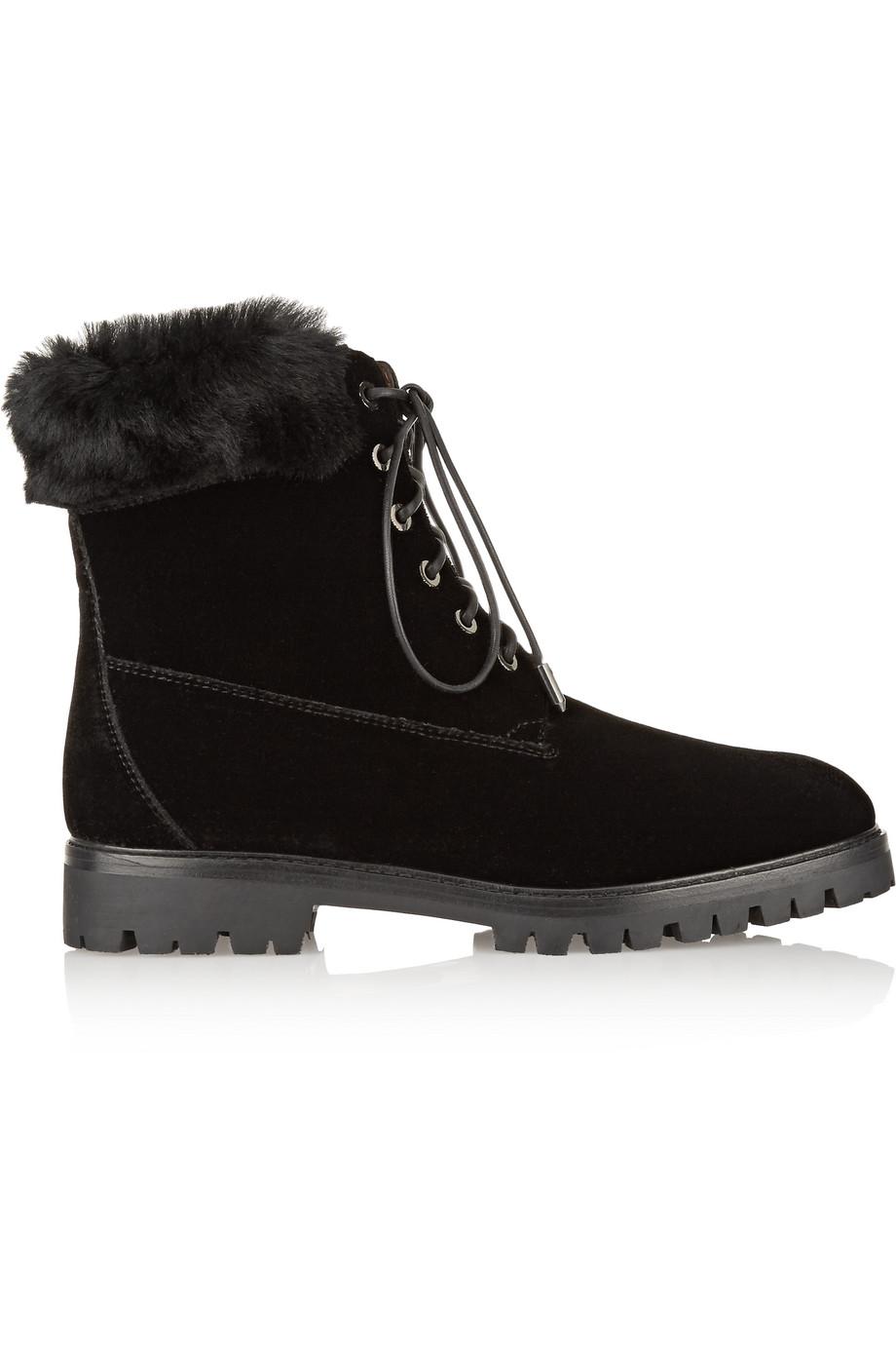 Aquazzura The Heilbrunner Shearling-Trimmed Velvet Boots, Black, Women's US Size: 10.5, Size: 41