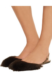 Faux fur and leather point-toe flats