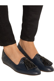Tasseled leather ballet flats