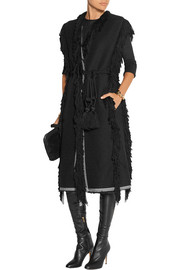 Fringed woven wool-blend gilet