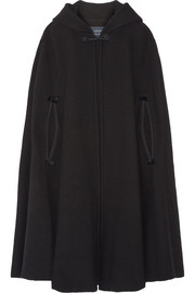 Hooded tassel-trimmed wool-blend cape