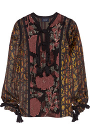 Lanvin Embroidered chiffon-paneled printed satin blouse