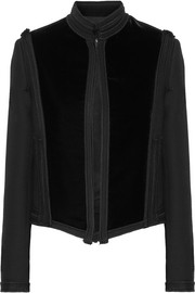 Embellished velvet and wool-gabardine jacket