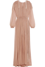 Pleated silk-chiffon maxi dress