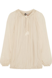 Tasseled silk-georgette blouse