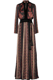 Velvet and grosgrain-trimmed printed satin maxi dress