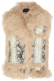 Lanvin Shearling and snake-effect leather vest