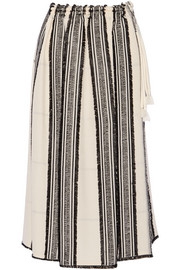 Embroidered striped textured-crepe skirt