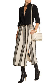 Lanvin Embroidered striped textured-crepe skirt
