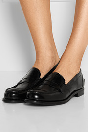Sally glossed-leather loafers